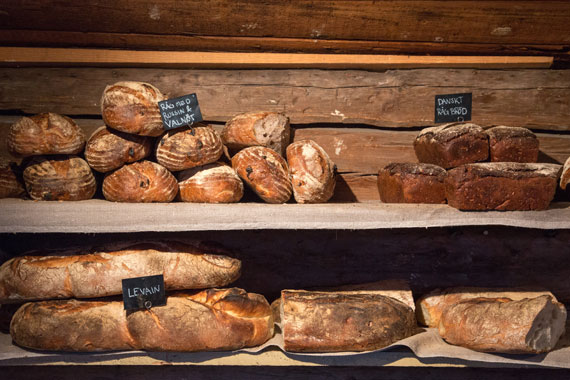 Sourdough bread on the shelves of a bakery in Sweden