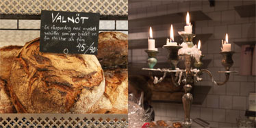 A sourdough loaf and a candelabra at a Fabrique store in Stockholm