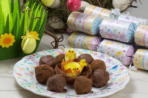 Chocolate truffles for Easter on a plate