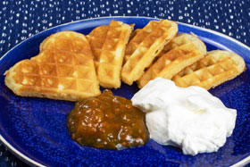 Waffles with cloudberry jam