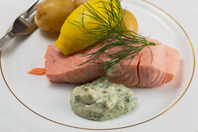 Cold poached salmon with dill mayonnaise