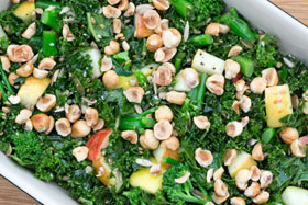 Kale salad with apple and stem broccoli