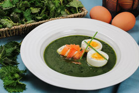Nettle soup with creme fraiche and smoked salmon