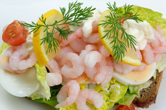 Swedish style open prawn sandwich