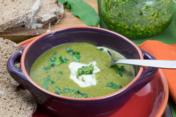 A dish of wild garlic soup