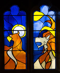 A stained-glass window at the Swedish Church in London