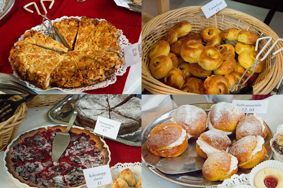 A selection of food available in the cafe at the Christmas Market in London