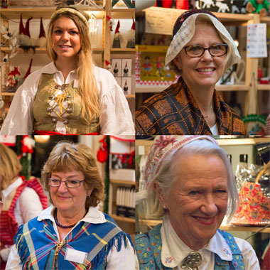 Women in costume at the Christmas Market in London