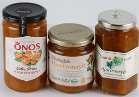 Three jars of cloudberry jam