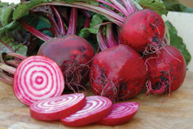 Sliced beetroot chioggia