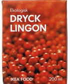 A carton of lingonberry drink from IKEA