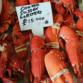 Cooked Sussex lobster for sale on Borough Market in London